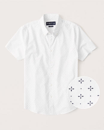 ANFShort-Sleeve Super Slim Button-Up Shirt