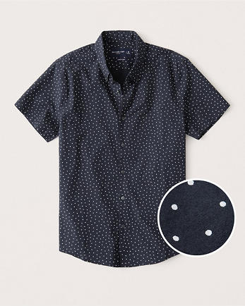 ANFShort-Sleeve Super Slim Button-Up Shirt