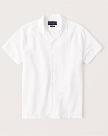 ANFLinen-Blend Camp Collar Button-Up Shirt