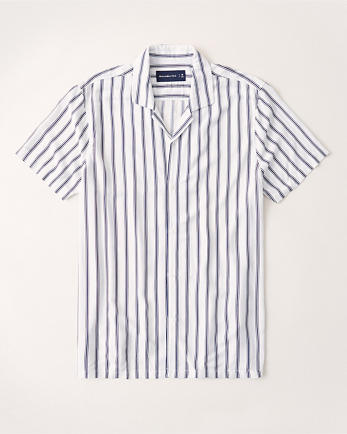 ANFShort-Sleeve Camp Collar Button-Up Shirt