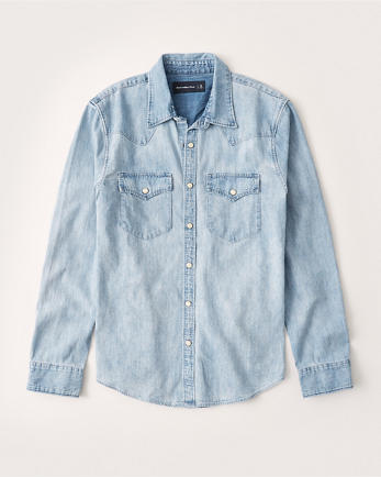 ANFLong-Sleeve Denim Shirt
