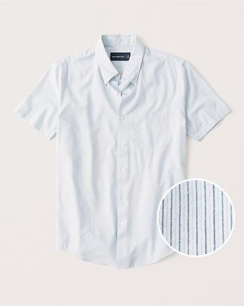 ANFShort-Sleeve Striped Button-Up Shirt