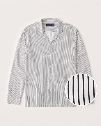 ANFLong-Sleeve Camp Collar Button-Up Shirt