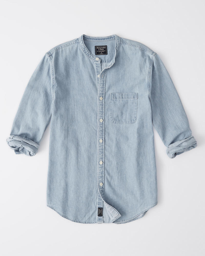 3a220939e7 Mens Banded Collar Denim Shirt