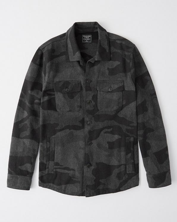 Camo Jacquard Shirt Jacket