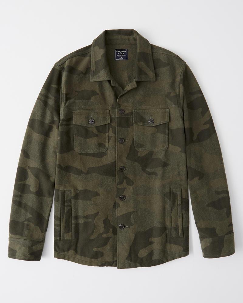 b0f9602c1cf Mens Camo Jacquard Shirt Jacket | Mens Clearance | Abercrombie.com