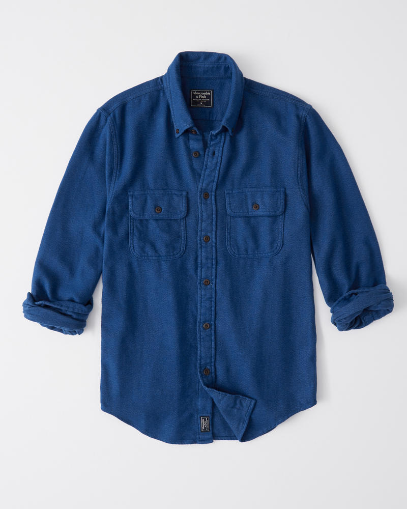 b4667a7fd Mens Solid Flannel Shirt | Mens Clearance | Abercrombie.com