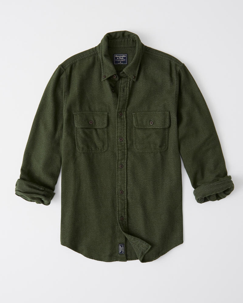 solid-flannel-shirt by abercrombie-&-fitch