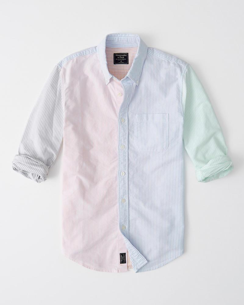 0188907b56 Hombre Camisa oxford en colores combinados de rayas