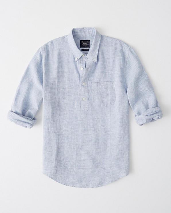 4bda419b75966 Mens Popover Linen Shirt   Mens Tops   Abercrombie.com