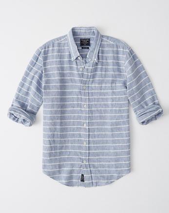 3708f8ad865 Pattern Button-Up Linen Shirt