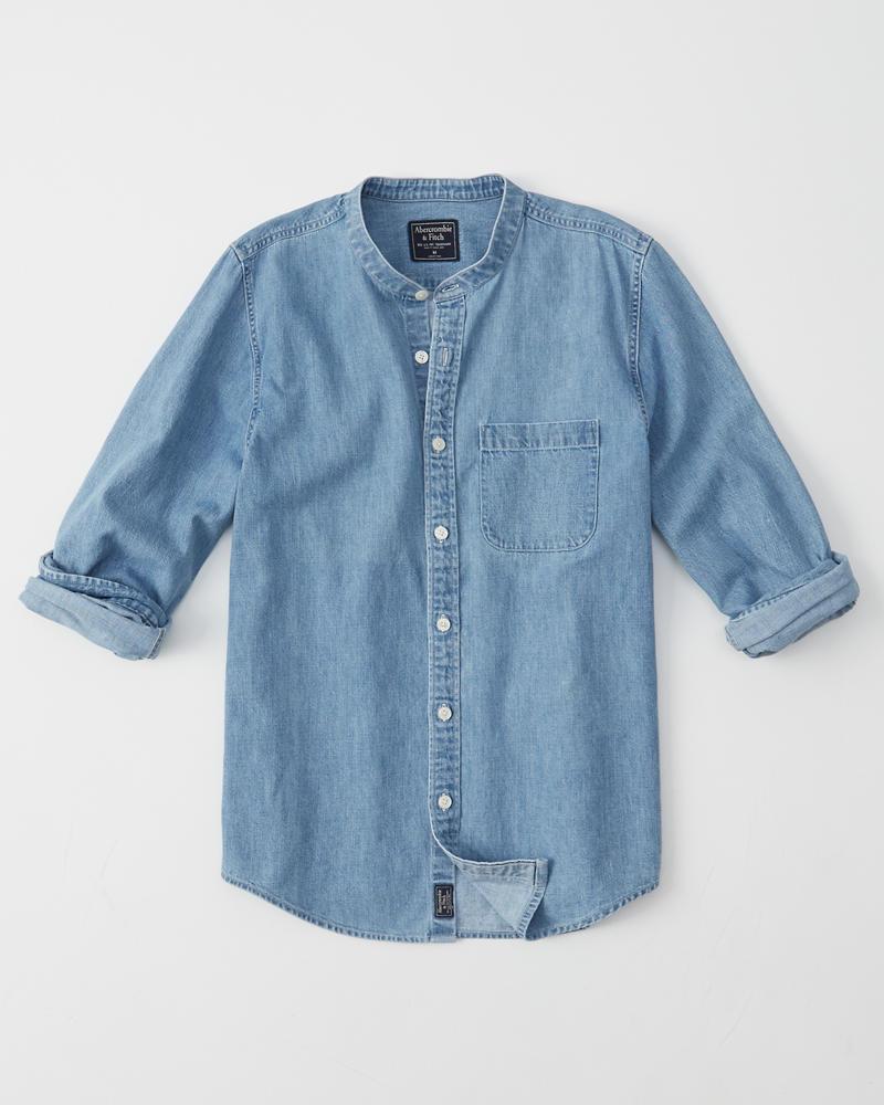 8482aacac2e0 Uomo Camicia di jeans con collo alla coreana