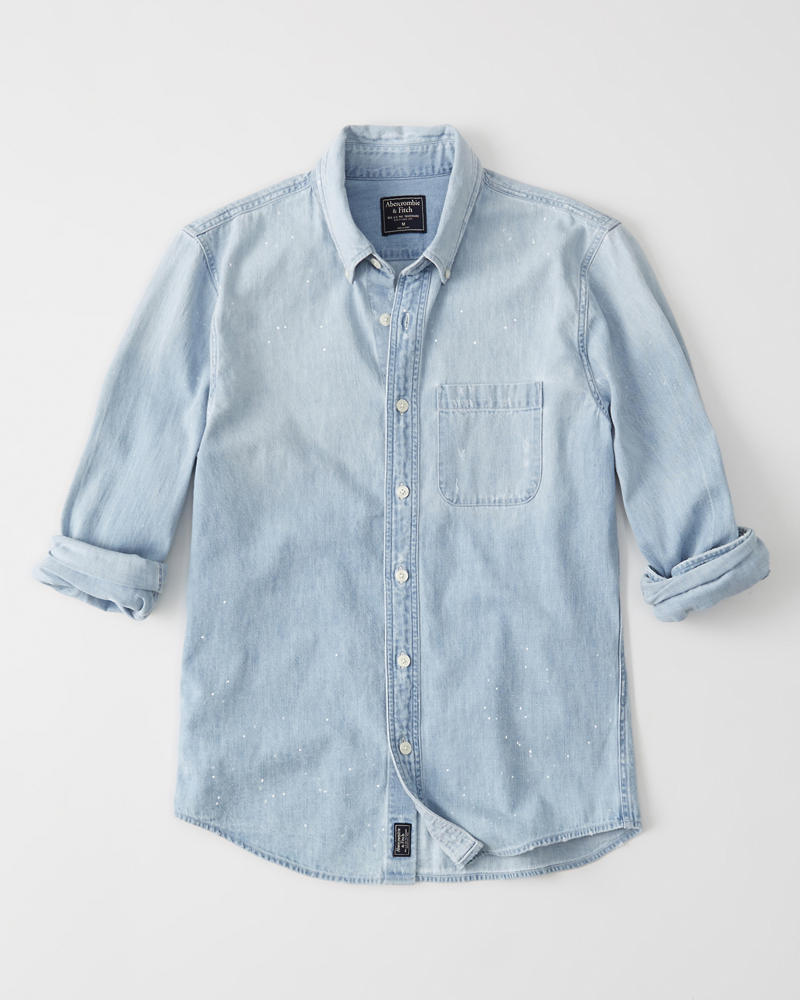 7fcd9ed639 Mens Destroyed Denim Shirt