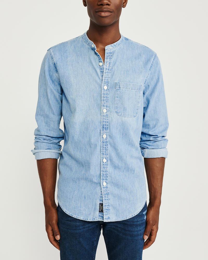 wholesale dealer f47ce c8c8c Uomo Camicia di jeans con collo alla coreana   Uomo Topwear ...