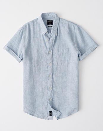 90cc895e4 Short-Sleeve Button-Up Linen Shirt, LIGHT BLUE STRIPE ...
