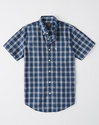 4a127dcf Short-Sleeve Icon Oxford Shirt, NAVY PLAID