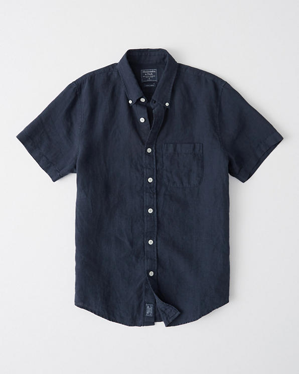 Mens Short-Sleeve Linen Shirt | Mens Tops | Abercrombie com