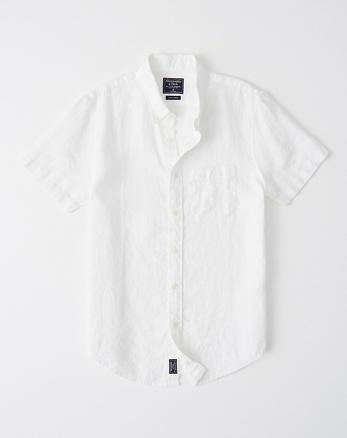 Camisa de lino abotonada de manga corta de3665fb533f9