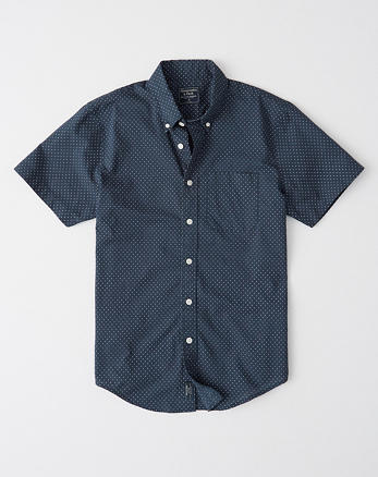 Zwart Overhemd Met Witte Stippen.Heren Overhemden Tops Abercrombie Com