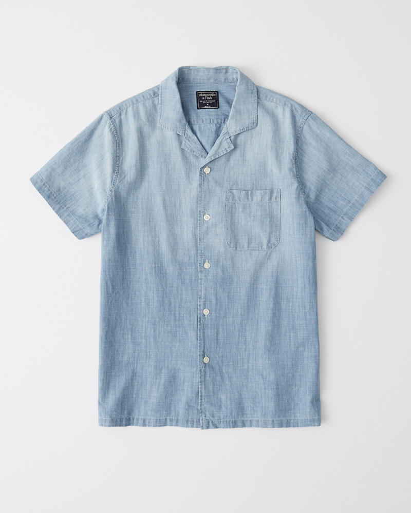 Short Sleeve Chambray Shirt by Abercrombie & Fitch