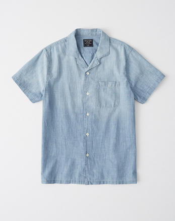 721fd49011a9f Short-Sleeve Chambray Shirt, CHAMBRAY