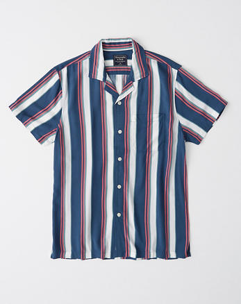 3643979a8 Vacation Button-Up, BLUE AND PINK STRIPE