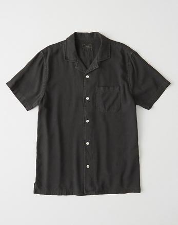 827c560610c584 Short-Sleeve Button-Up Shirt, BLACK