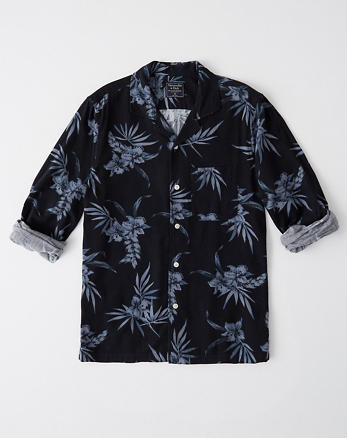 14db0ad5b38d Pattern Long-Sleeve Button-Up, NAVY BLUE FLORAL