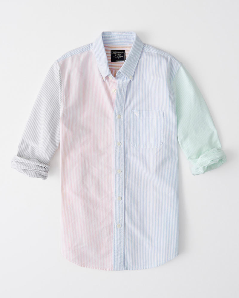 Striped Colorblock Oxford Shirt by Abercrombie & Fitch