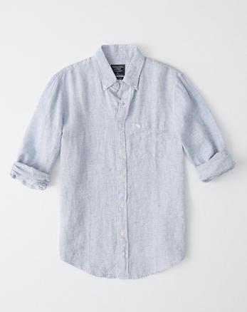 ed908679b1654d Icon Linen Shirt, LIGHT BLUE STRIPE WITH MOOSE ...