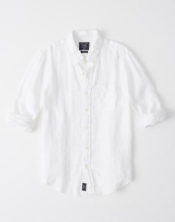 95532204 Icon Linen Shirt, WHITE WITH MOOSE