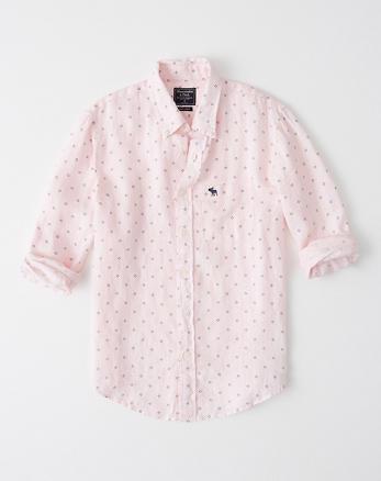 e8f681d80b Camisa de lino con botones e ícono