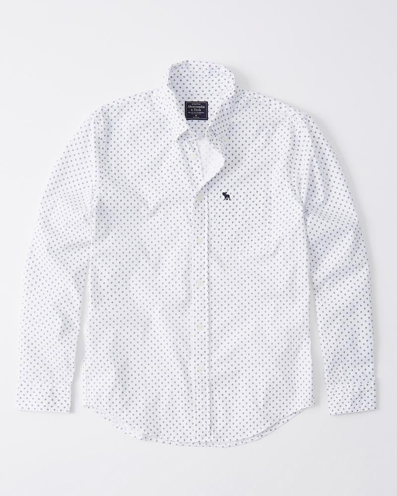 540ae2b0ea0860 Uomo Camicia in popeline con icona | Uomo Topwear | Abercrombie.com