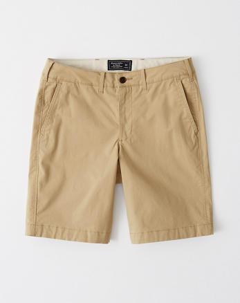 a871db2600a3c0 Herren Lang. Shorts mit schlichter Vorderseite, KHAKI
