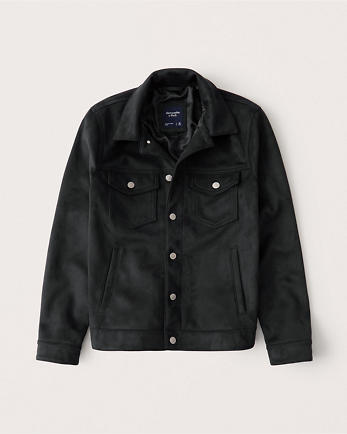 ANFFaux-Suede Trucker Jacket