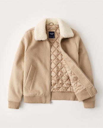 ANFSherpa Collar Wool-Blend Bomber