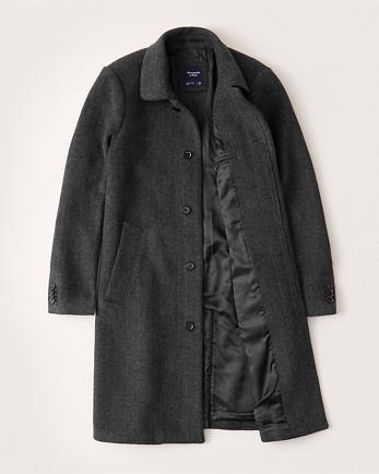 ANFHerringbone Wool-Blend Dad Coat