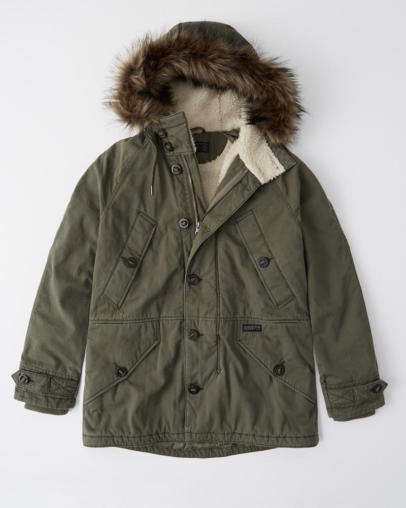 ca8a40877b Mens Sherpa-Lined Cotton Parka