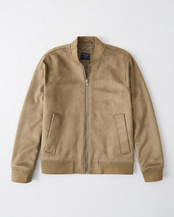 ANFFaux-Suede Bomber Jacket