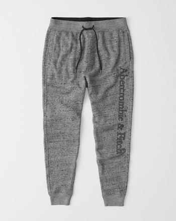 Tonal Embroidered Logo Joggers by Abercrombie & Fitch