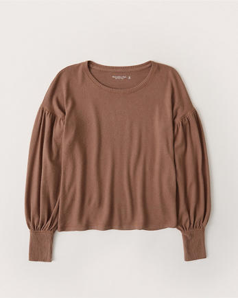 ANFLong-Sleeve Puff-Sleeve Top