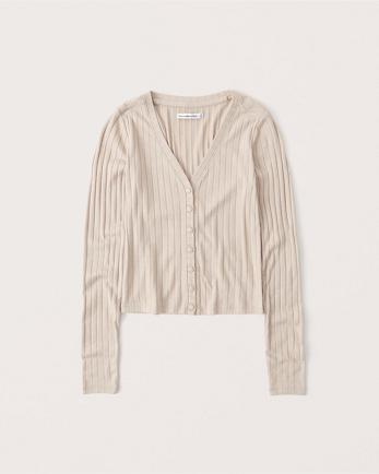 ANFLong-Sleeve Ribbed Cardigan