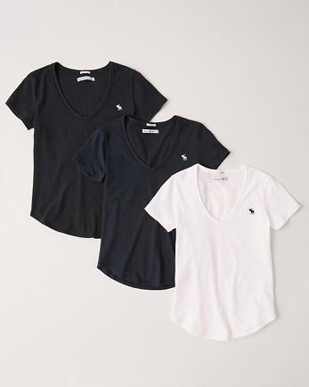 ANF3-Pack Short-Sleeve Deep-V Tee