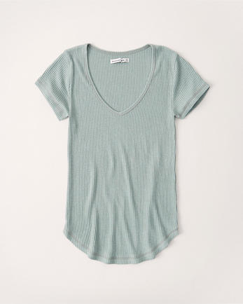 ANFSlim Ribbed V-Neck Tee