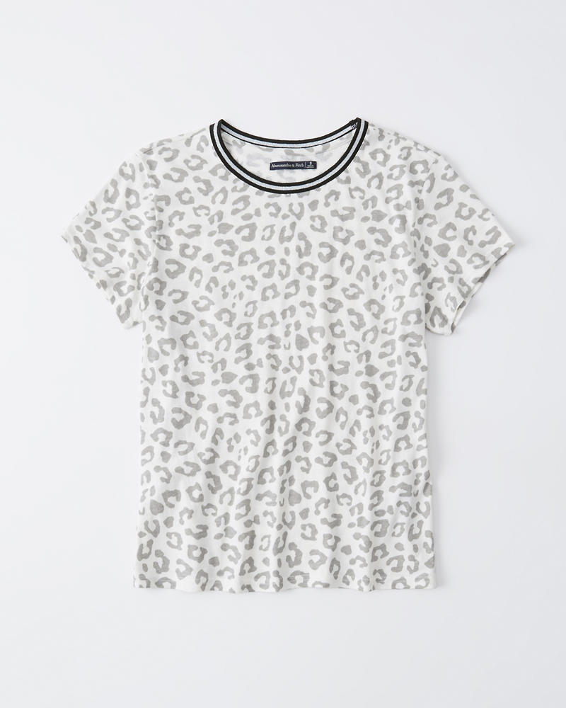 Mujer Camiseta con estampado de leopardo con ribetes  279ba15ee1a8d