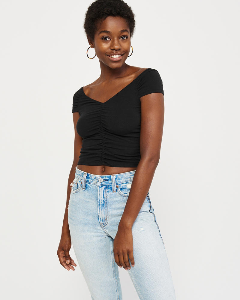 Ruched Off The Shoulder Top by Abercrombie & Fitch
