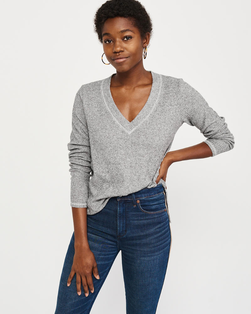 Long Sleeve Cozy V Neck Top by Abercrombie & Fitch
