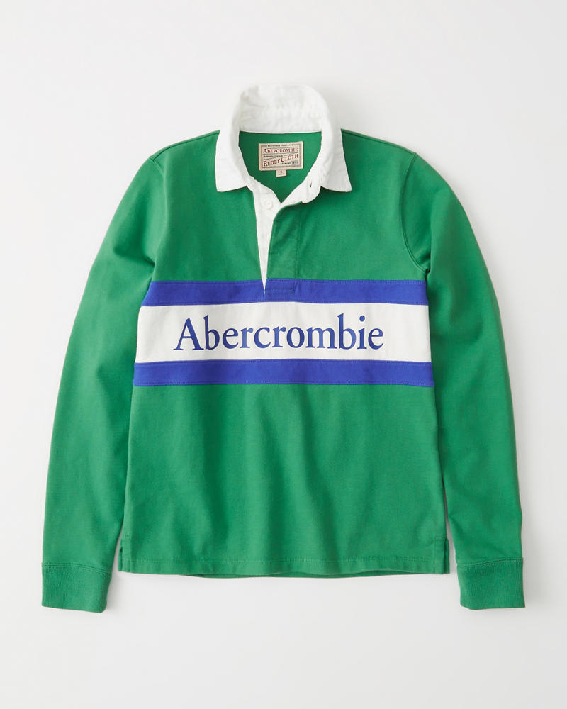 473a71b76bc Long-Sleeve Logo Rugby Polo | Abercrombie.sg