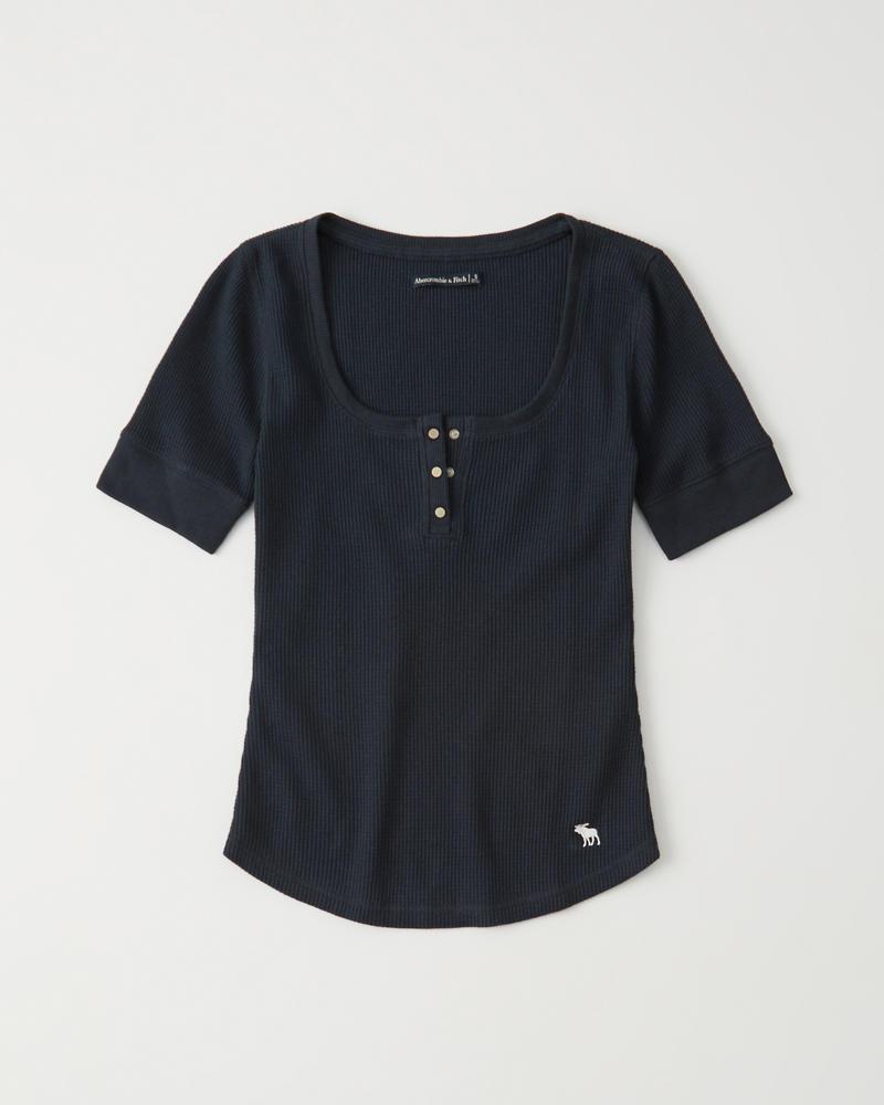 ce4c2daca18 Womens Short-Sleeve Waffle Henley | Womens Tops | Abercrombie.com