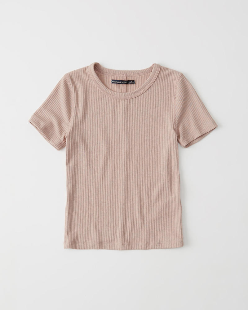 Slim Ribbed Crew Tee by Abercrombie & Fitch